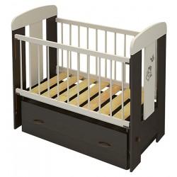 Детская кроватка для новорожденного Алмаз мебель Зайка поперечный маятник + закрытый ящик
