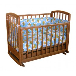 Детская кроватка для новорожденного поперечный маятник с колёсами, качалкой и ящиком Фея 611