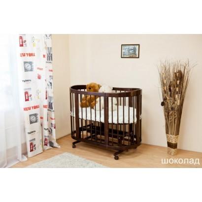 Детская овальная кроватка для новорожденного с продольным маятником Можга Красная звезда Паулина С322