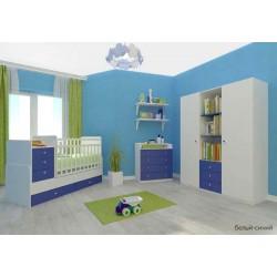 Детская комната Фея 3 предмета: кроватка трансформер с маятником 1100 + комод 1580 + шкаф трёхсекционный