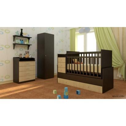 Детская комната Фея 2 предмета кроватка трансформер маятник 1200 + комод 1560