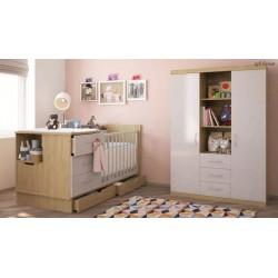 Детская комната Polini (Полини) кроватка-трансформер + шкаф 3-х секционный