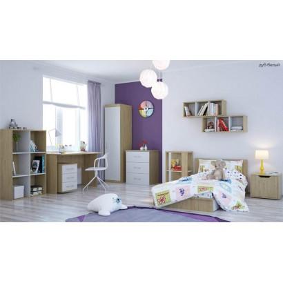 Детская комната Polini (Полини) кроватка-трансформер + шкаф + стол + тумба + полка