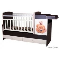 Детская кроватка трансформер с маятником Папа Карло Мишки New