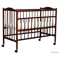 Детская кроватка для новорожденного на колёсиках Фея 203
