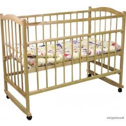 Детская кроватка для новорожденного качалка на колёсиках Фея 204
