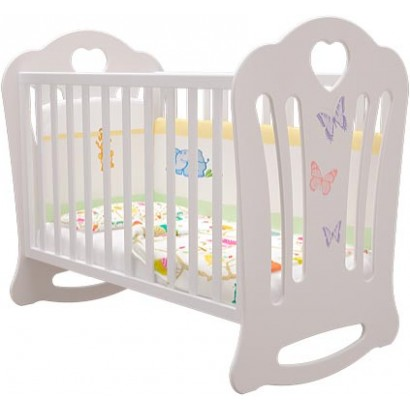 Детская кроватка для новорожденного качалка на колёсах Шарлотта (Бабочки) Можгинский лесокомбинат