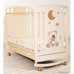 Детская кроватка для новорожденного качалка на колёсиках Angela Bella Жаклин с ящиком